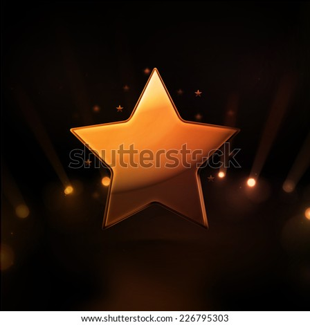 One gold star, eps 10 - stock vector