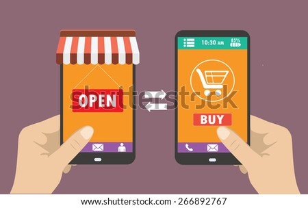One hand holds a smartphone shop, the other hand holding a smart phone with icon shopping,  e-commerce on the phone, flat design - stock vector