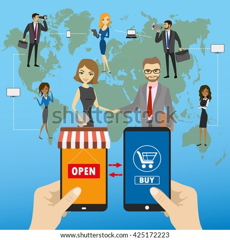 One hand holds a smartphone shop, the other hand holding a smart phone with icon shopping, Global  e-commerce on smart gadgets, flat design - stock vector