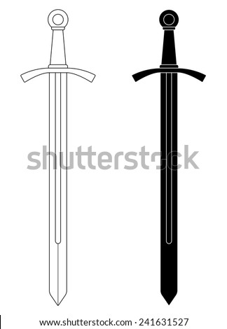 One-handed medieval knight vector sword clip art illustration isolated on white. Contour, black and white - stock vector