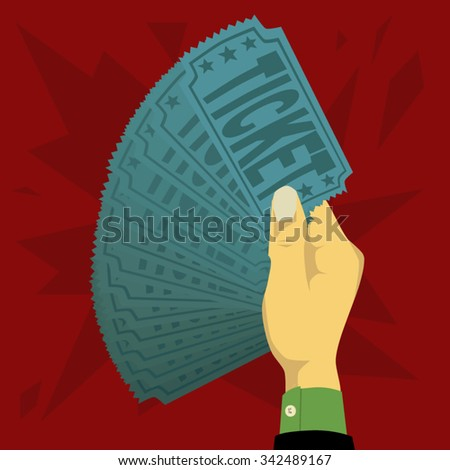 One hands holding a lot of ticket - stock vector