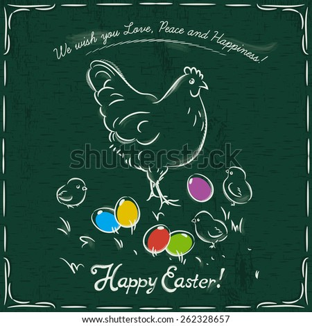 One hen and easter colored eggs on grunge green background and inscription with text Happy Easter. - stock vector