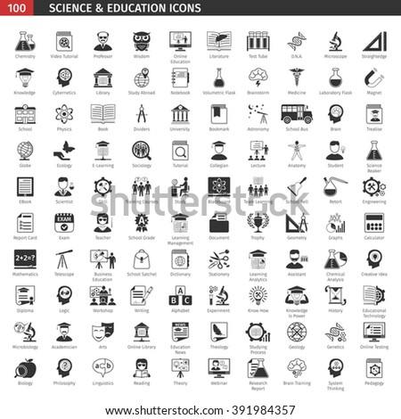 One Hundred Black Education Icons Set. - stock vector