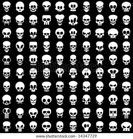 one hundred different skulls on black background - stock vector