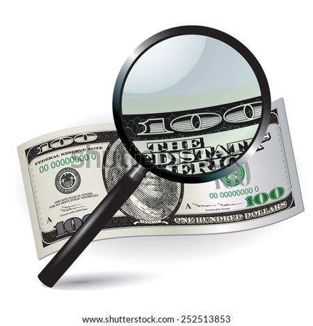One hundred dollar with magnifier. Top view. Vector illustration - stock vector