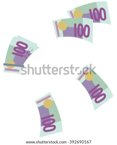 One hundred euros banknote. Euro money banknotes. Euro icons. One hundred euros banknote vector illustration. Money icon. Euro drawings. Flying euro banknotes. Flying money. - stock vector
