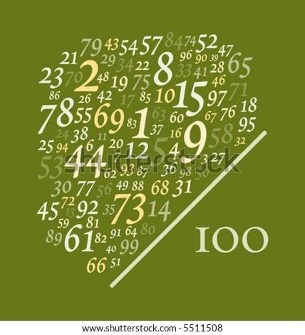 one hundred numbers over one hundred - stock vector