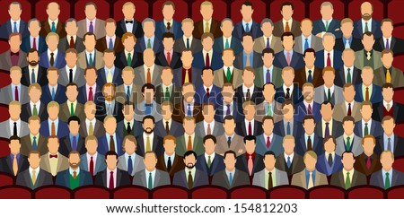 One Hundred Sitting Businessman. One hundred unique heads. Good for showing percentage and statistics. - stock vector
