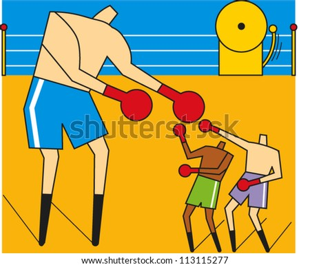 One large boxer and two smaller ones square off in a ring - stock vector