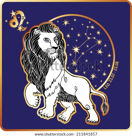 One Leo zodiac sign. Horoscope.Lion and circle with constellation and stars Golden and white figure on blue background.Graphic Vector Illustration in retro style.   - stock vector