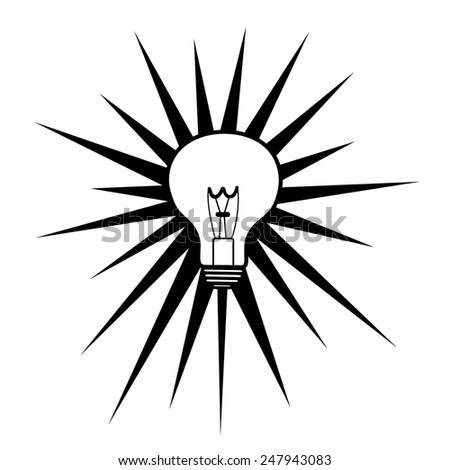 one light bulb and rays on white background - stock vector