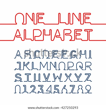 One line alphabet and numbers. One single continuous line font. Vector illustration. - stock vector