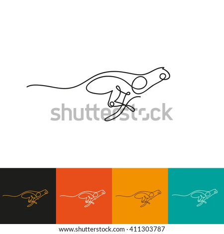One line cheetah design silhouette. Hand drawn minimalism style vector illustration - stock vector