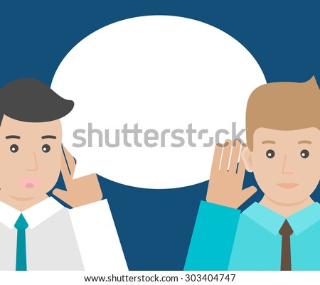 One man is holding hand at his ear and listening, the other  man is saying. Hearing and speaking, vector illustration - stock vector