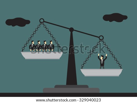 One man on the scales is heavier than many men on the other side. Vector cartoon illustration on concept of a valuable human asset. - stock vector