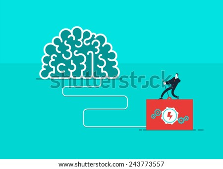 One man who turn on the brain. Vector business illustration. Global colors. Text and Texture in separate layers. Modern colors. Creative Bussiness illustration. Eps 10 - stock vector