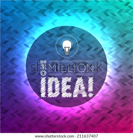 One million idea quote vintage poster, hipster typography elements on colored triangles abstract background. Many triangles, random opacity and color in various tones. - stock vector