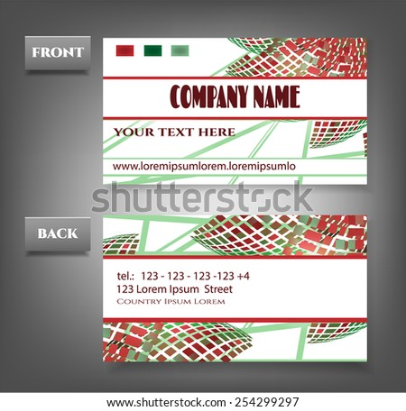 One, modern business card with flowers and patterns - stock vector