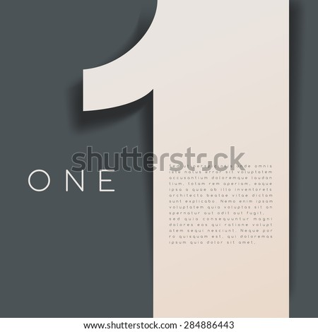 One : Numeral Graphic in Overlapping Element : Vector Illustration - stock vector