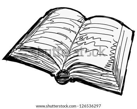 One opened old book - stock vector