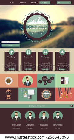 One Page Hipster Website Template design. Vector eps10 - stock vector