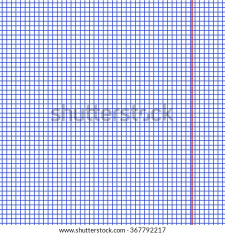 One page of paper sheet school math exercise book with red margin, clean square texture worksheet pattern, blank template student note book, vector illustration - stock vector