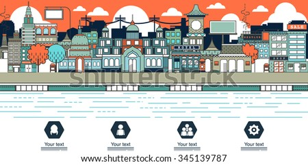One page web design city skyline detailed template with thin line icons,
