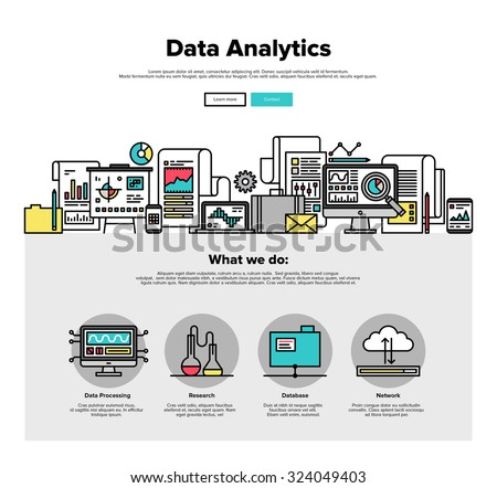 One page web design template with thin line icons of business data analytics, finance statistics, web search analysis, database research. Flat design graphic hero image concept website elements layout - stock vector
