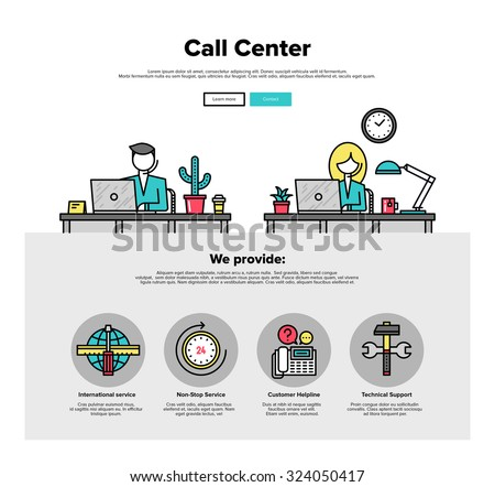 One page web design template with thin line icons of call center support, customer service helpline operator, business solution provider. Flat design graphic hero image concept website elements layout - stock vector
