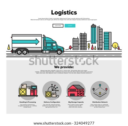 One page web design template with thin line icons of cargo container logistic by heavy truck vehicle, road delivery distribution service. Flat design graphic hero image concept website elements layout - stock vector