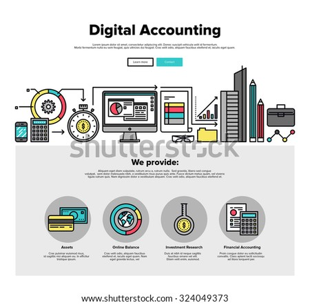 One page web design template with thin line icons of digital accounting service, investment research, business data market analysis. Flat design graphic hero image concept, website elements layout. - stock vector