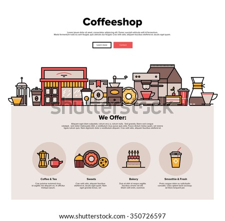 One page web design template with thin line icons of local coffeeshop exterior, coffee cafe with sweets retail service, hipster bakery. Flat design graphic hero image concept, website elements layout. - stock vector