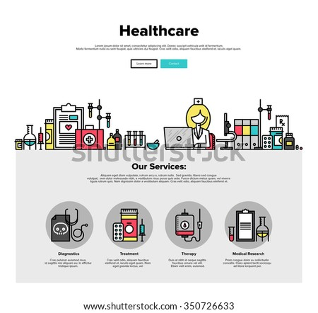 One page web design template with thin line icons of medical laboratory with scientist doctor, healthcare research and diagnostics. Flat design graphic hero image concept, website elements layout. - stock vector