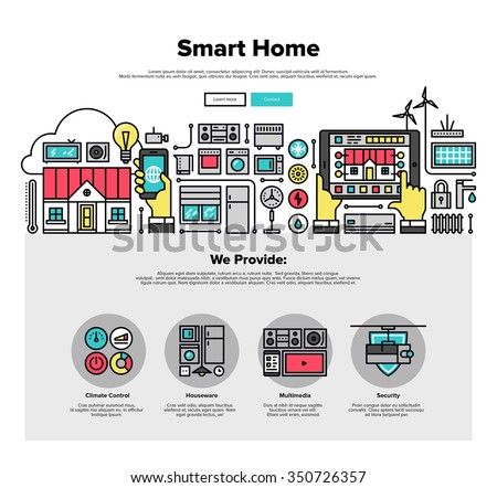 One page web design template with thin line icons of smart home automation system, smart house climate control panel on mobile device. Flat design graphic hero image concept, website elements layout. - stock vector