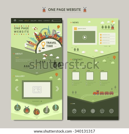 one page web design with travel concept elements - stock vector