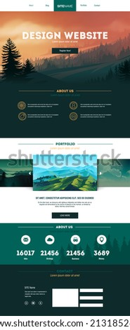One page website design - stock vector
