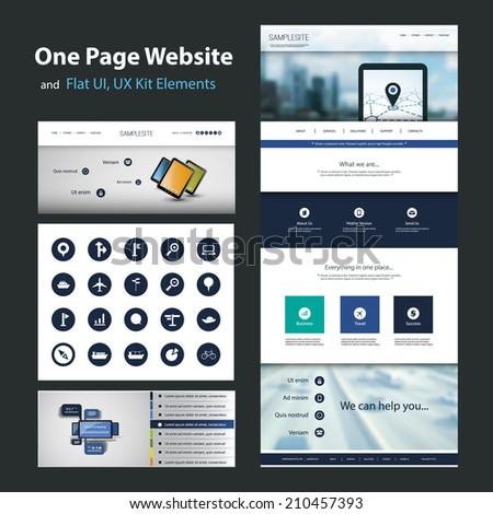 One Page Website Design Template and Flat UI, UX Elements - stock vector