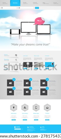 One Page Website Design Template Eps 10 Vector  - stock vector