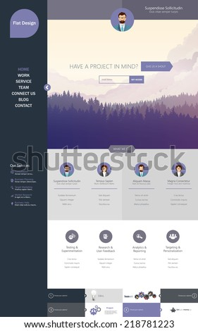 One page website design template flat illustrations. - stock vector