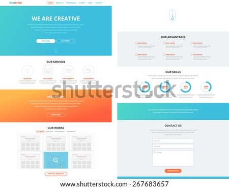 One page website design template in flat design style for web development. Business concept. Ideal to show as a concept in different presentations. - stock vector