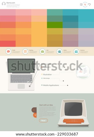 One page website design template. Set for website design that includes one page website templates and set of flat design concept illustrations for banners, presentation templates and web content. - stock vector