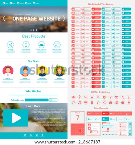 One page website design template with menu icons and navigation layout elements vector illustration - stock vector