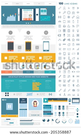 One Page Website Design Template with UI Elements kit and Flat Design Concept Icons. Mobile Phones and Tablet PC Designs. Set of Forms, Dividers, Borders and Buttons. Business Style. 100 Line Icons. - stock vector