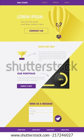 one page website layout template- clean modern web in flat design style - stock vector