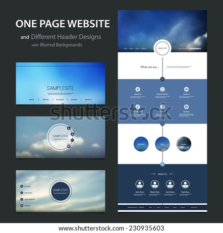 One Page Website Template and Different Header Designs with Blurred Backgrounds - stock vector