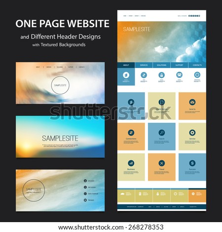 One Page Website Template and Different Header Designs with Blurred Backgrounds - Clouds - stock vector