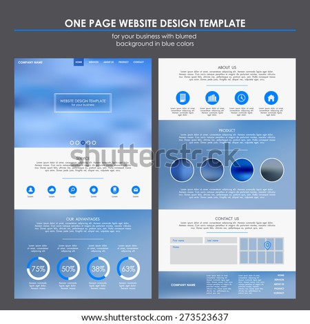 One page website template design for your business with blurred background in blue colors. Round flat icons. EPS 10 - stock vector