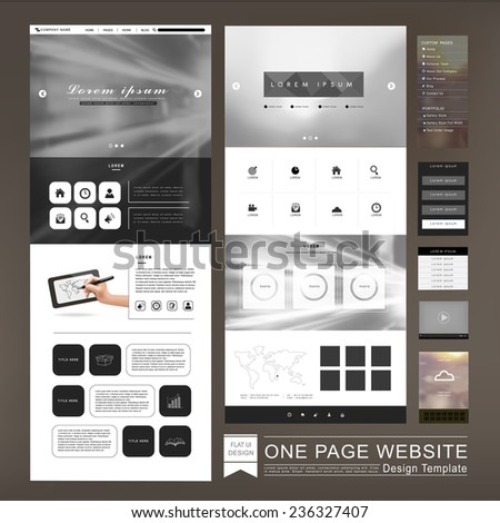 one page website template design in blurred background - stock vector
