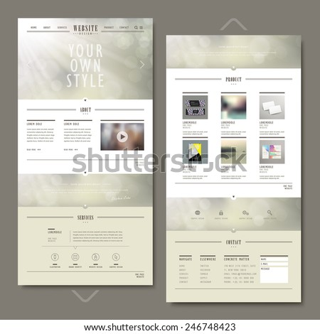 one page website template design with blurred background - stock vector