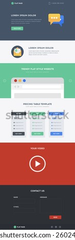 One Page Website template in flat design with good Layout. Responsive creative modern Landing Page design with Pricing Table Template - stock vector